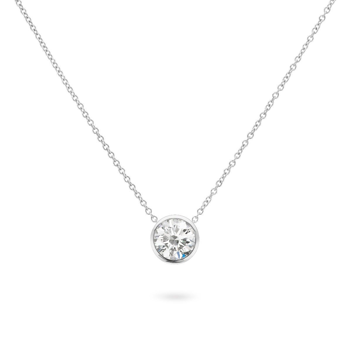 Lab-Crafted Bezel Set Pendant 7/8ctw. In 14k White Gold