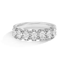 Oval & Brilliant-Cut 1ctw. Diamond Halo Anniversary Band in 14K White Gold