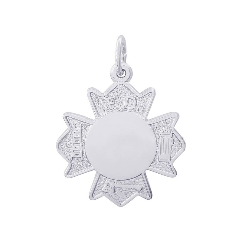 Fire Dept. Badge Sterling Silver Charm