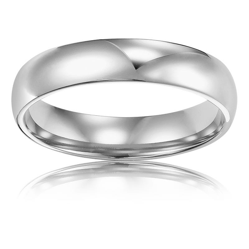 Men's 4mm Comfort Fit Wedding Band in 14k White Gold, Size 9
