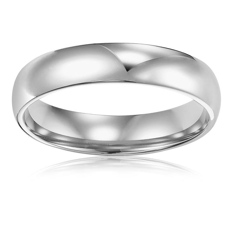 Men's 4mm Comfort Fit Wedding Band in 14k White Gold, Size 11