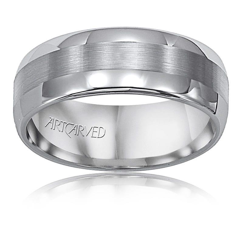 ArtCarved Men's Tungsten Polished Satin 8mm Wedding Band