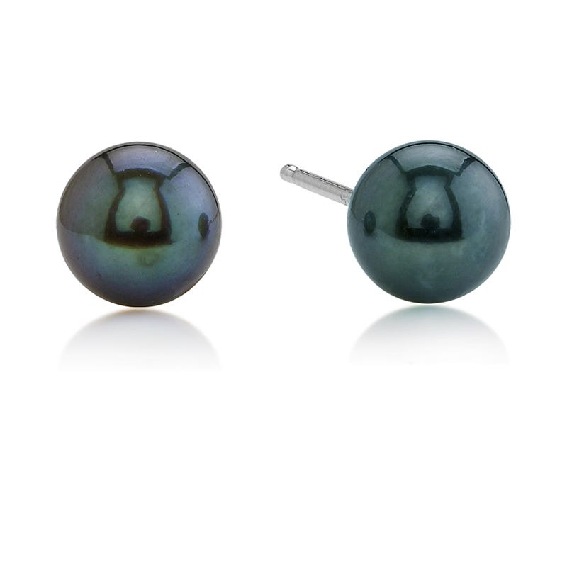 Akoya Black Pearl Stud Earrings in 14k White Gold