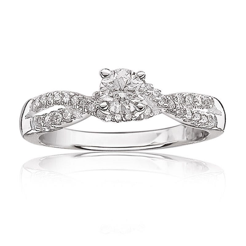 Iris. Brilliant-Cut Diamond Pavé Shank Engagement Ring ½ctw.