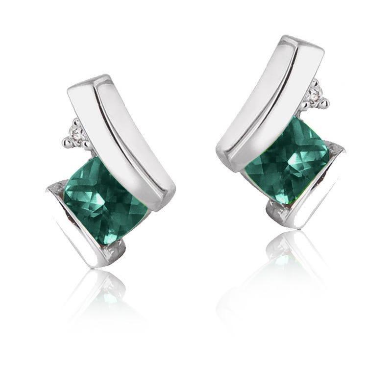 Created Emerald & Diamond Drop Earrings in 10k White Gold