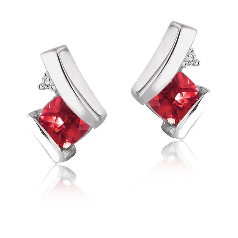 Created Ruby & Diamond Drop Earrings in 10k White Gold