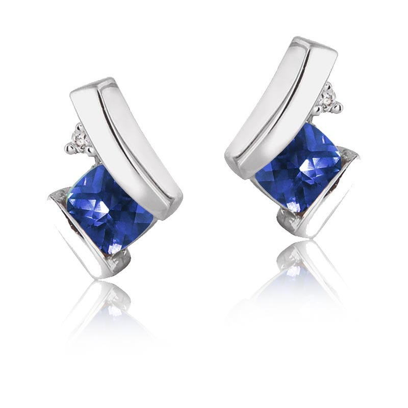 Created Sapphire & Diamond Drop Earrings in 10k White Gold