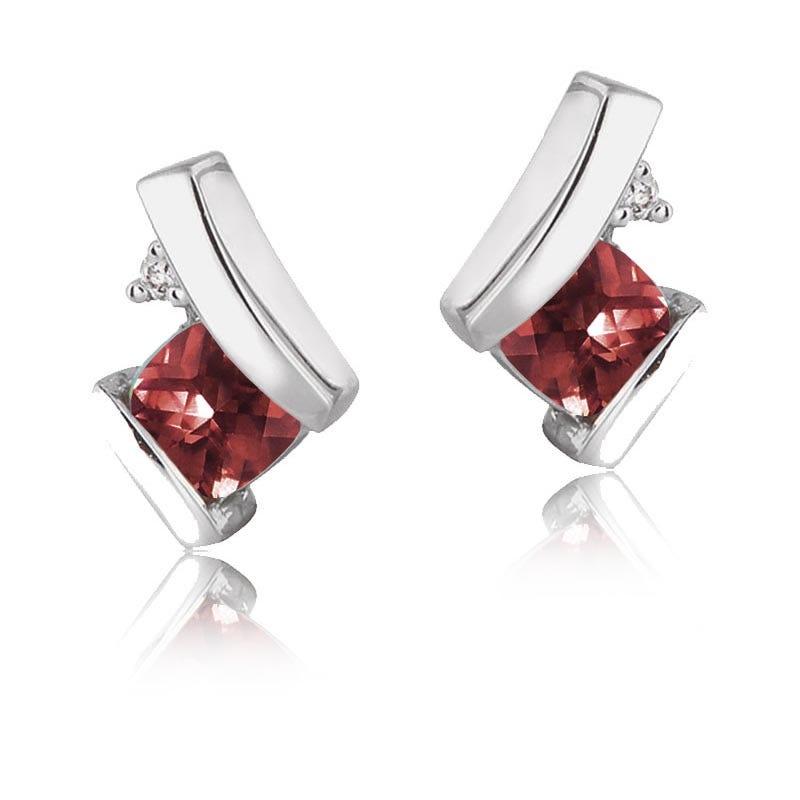 Garnet & Diamond Drop Earrings in 10k White Gold