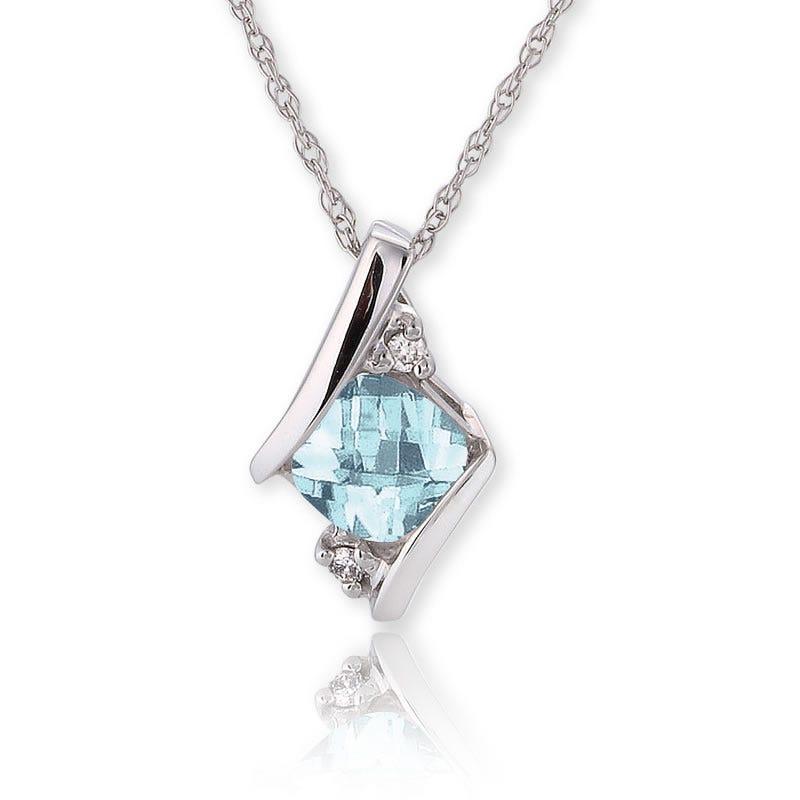 Aquamarine & Diamond Pendant 10K White Gold