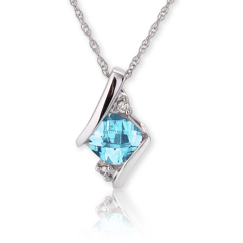 Blue Topaz & Diamond Pendant in 10k White Gold