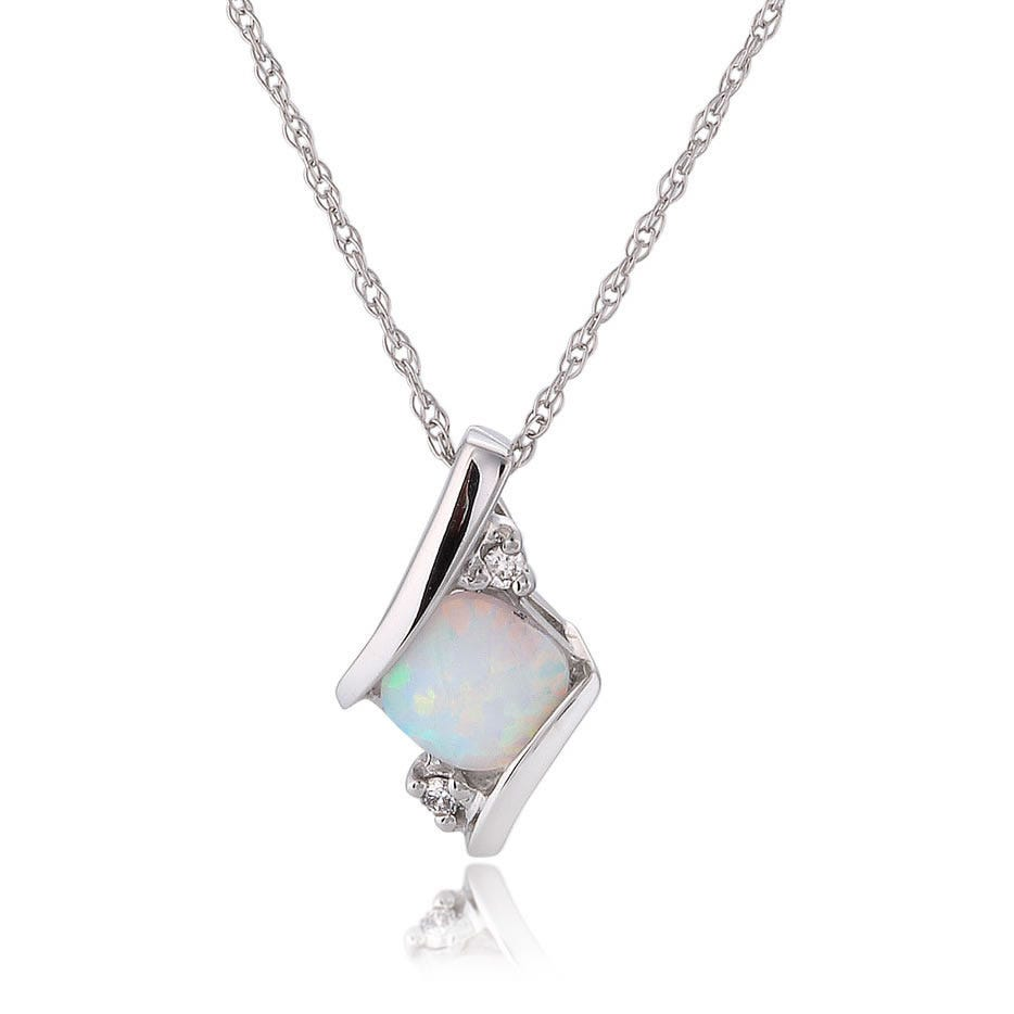 Created Opal & Diamond Pendant 10k White Gold