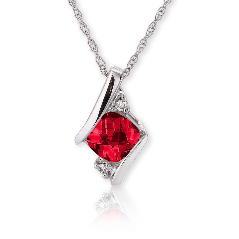 Created Ruby & Diamond Pendant 10k White Gold