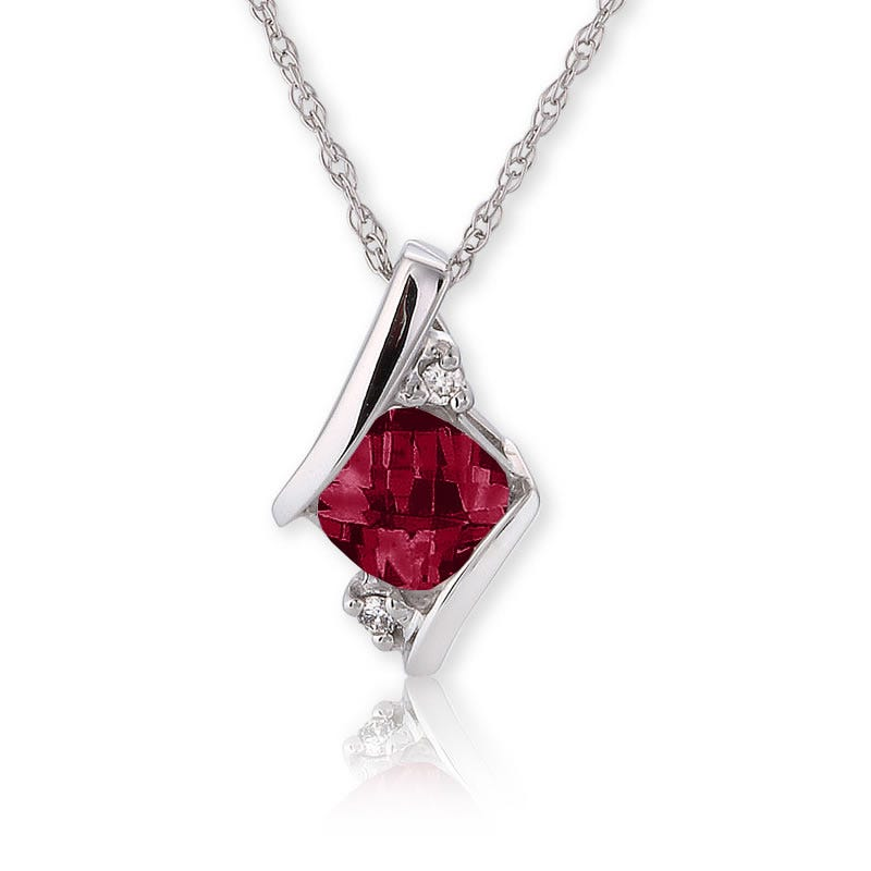 Garnet & Diamond Pendant 10k White Gold