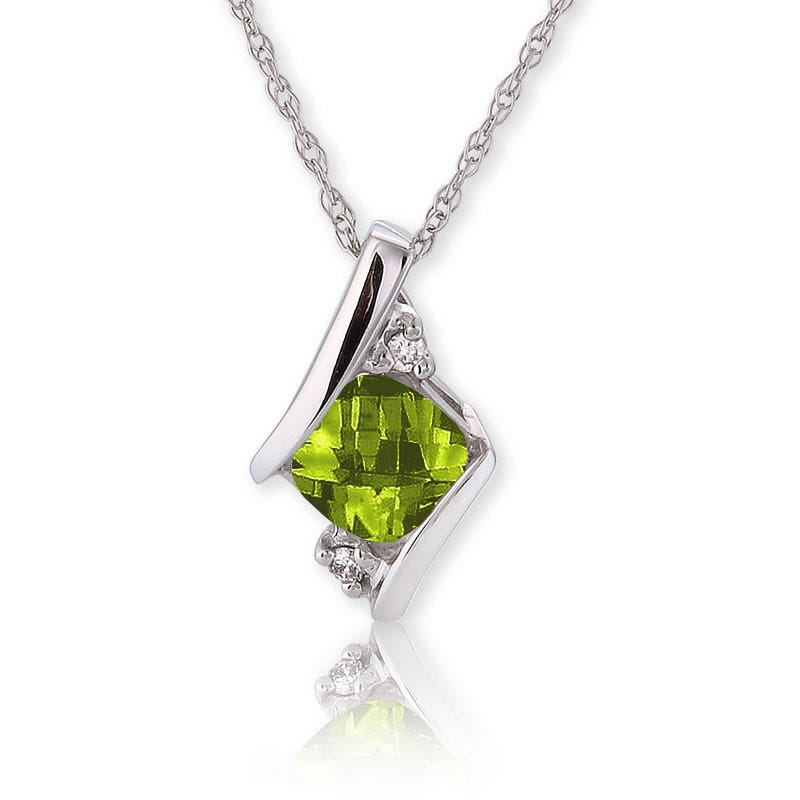 Peridot & Diamond Pendant 10k White Gold