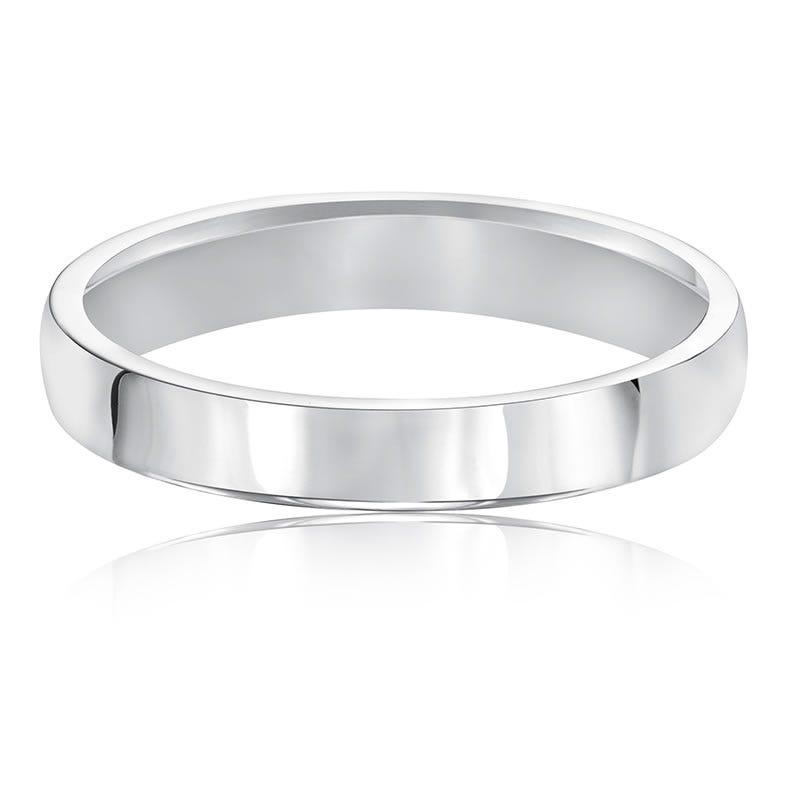 Ladies' 3mm Comfort Fit Classic Wedding Band in 14k White Gold, Size 7
