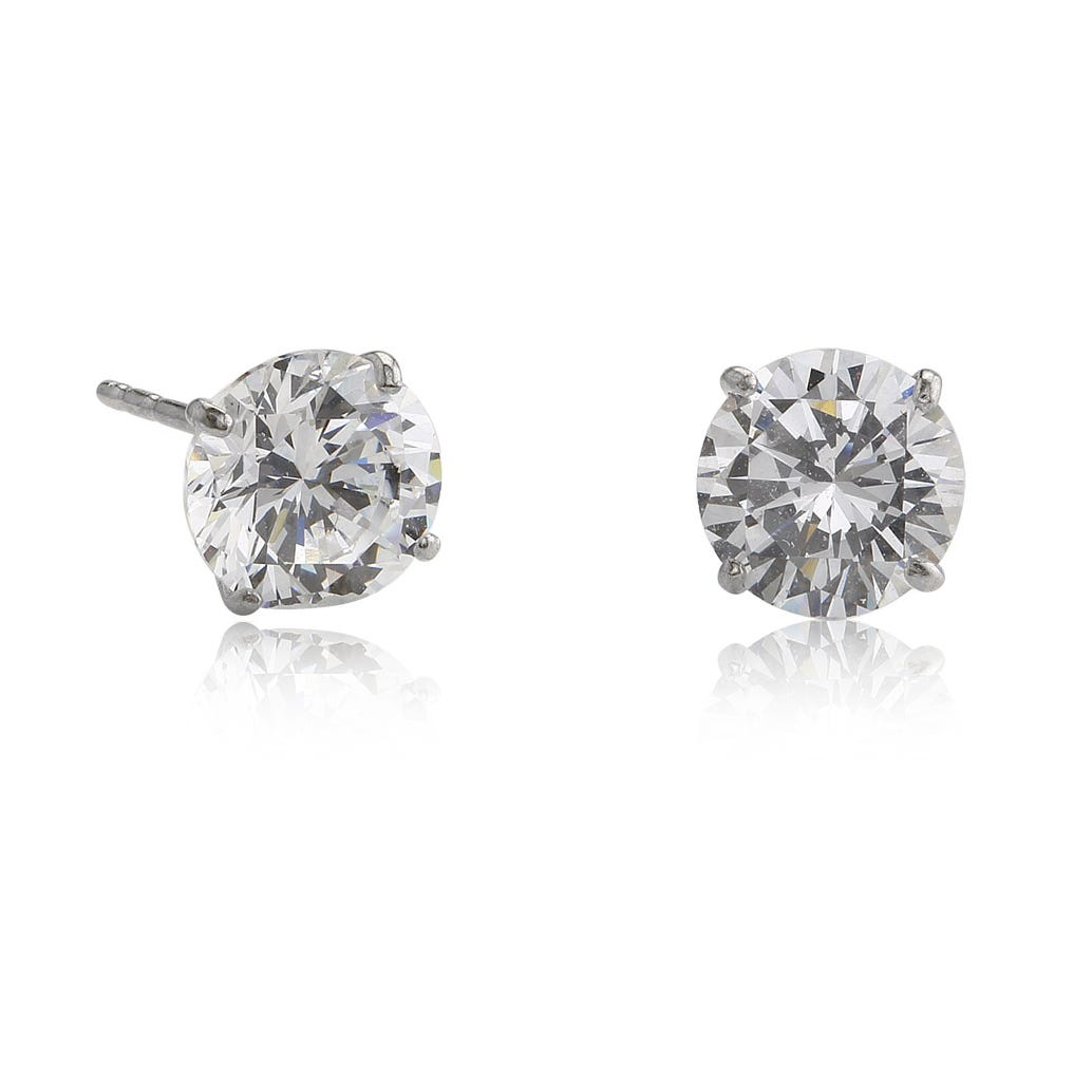 6mm Cubic Zirconia Stud Earrings in 14k White Gold