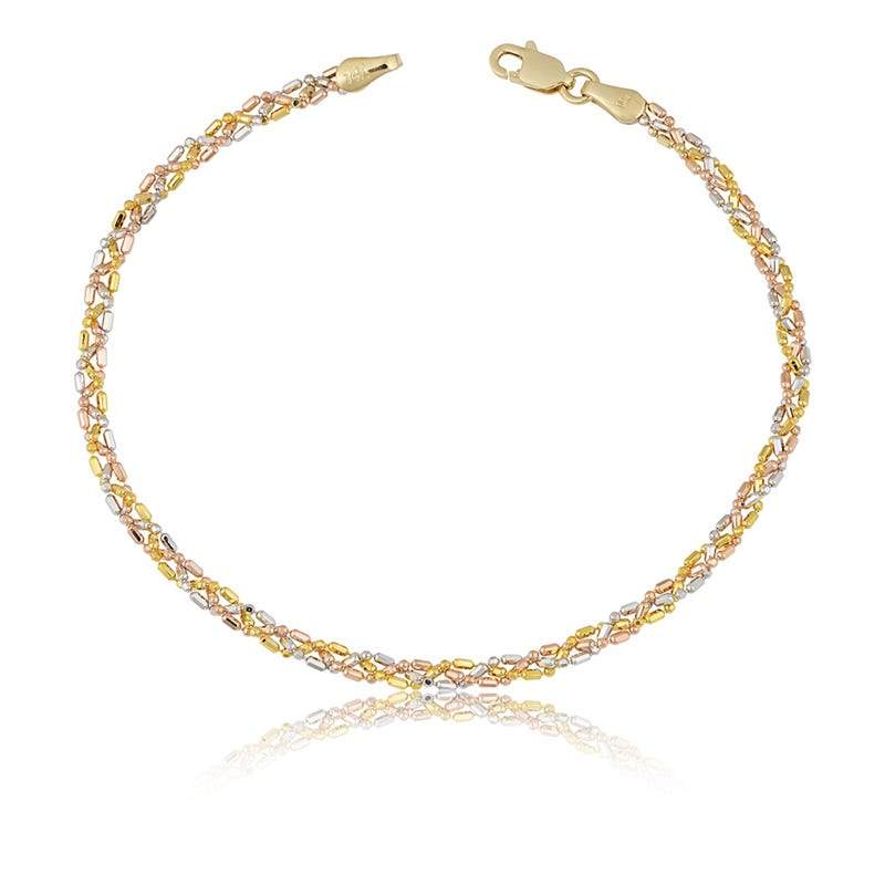 Beaded Braid Bracelet in 14k Gold