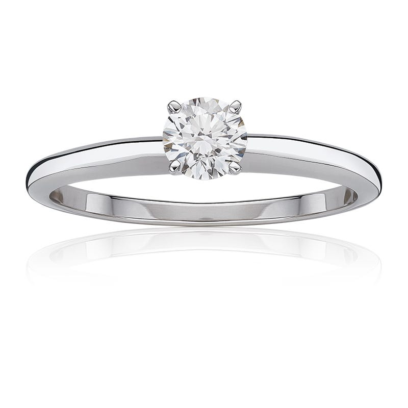 Diamond Round  Classic Solitaire Engagement Ring 3/4ctw. In 14k White Gold