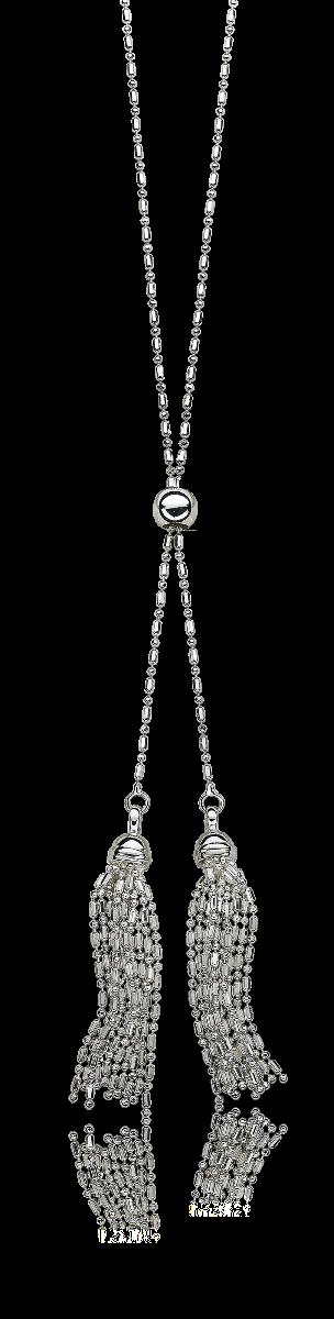Beaded Tassel Necklace in Sterling Silver
