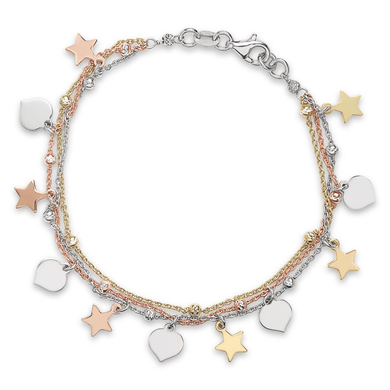 Heart & Star 3 Row Bracelet in Yellow, White & Rose Plated Sterling Silver