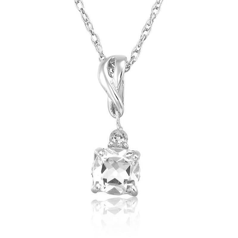 Created White Sapphire & Diamond Pendant