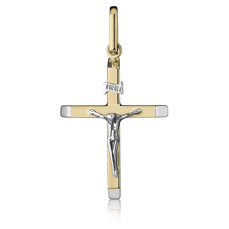 Crucifix Necklace Charm in 14K Two-Tone Gold