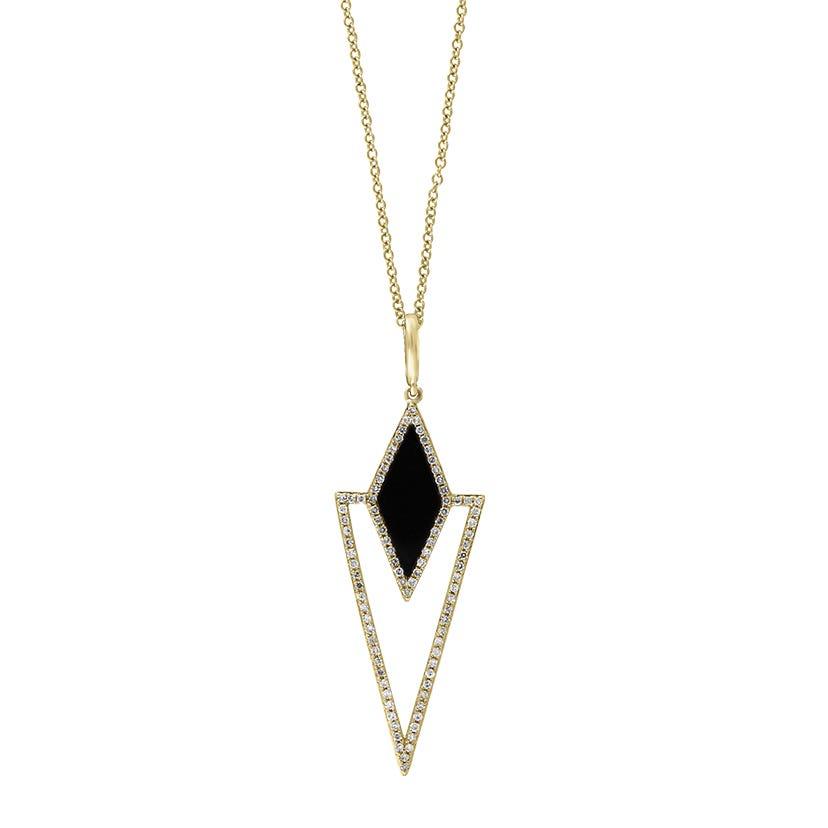EFFY Onyx & Diamond Drop Necklace in 14k Yellow Gold