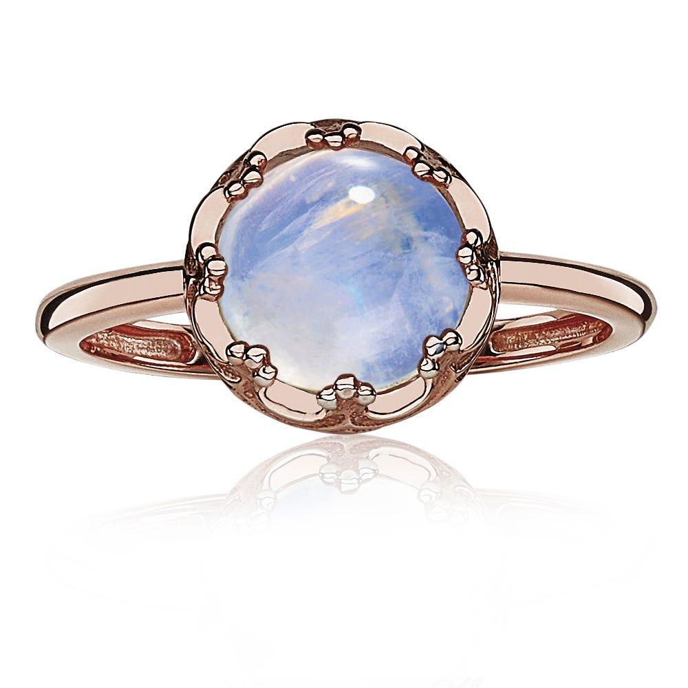 Moonstone Crown Gemstone Fashion Ring in 10k Rose Gold