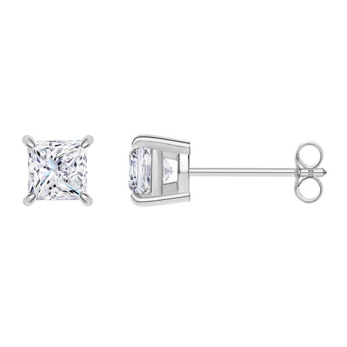 Princess-Cut Diamond Solitaire Earrings 1/4ctw. in 14k White Gold