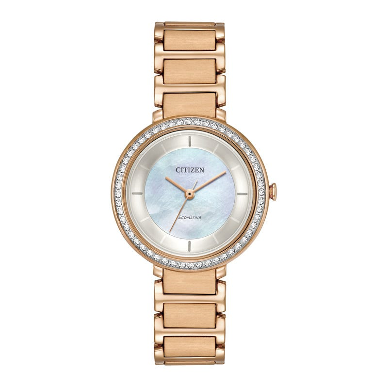 Citizen Womens Rose Goldtone Bracelet Watch EM0483-54D