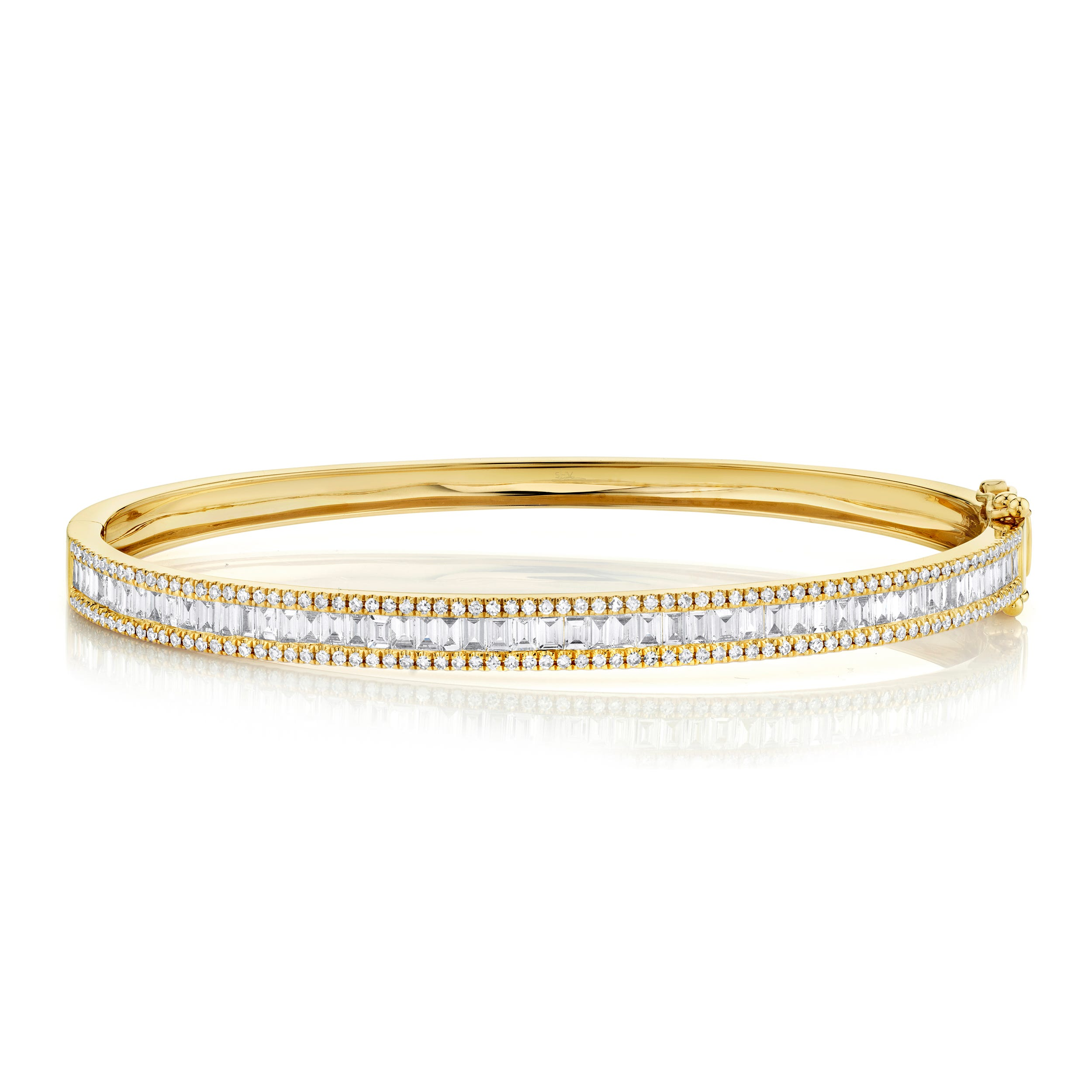 Shy Creation Diamond Baguette Bangle Bracelet in 14k Yellow Gold SC55004921ZS