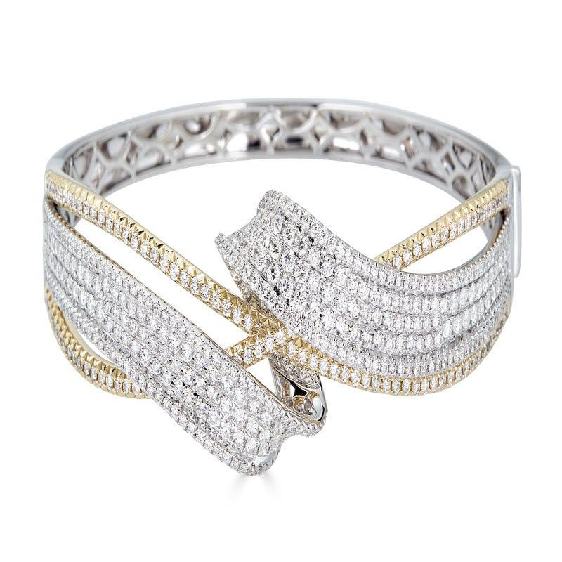 Diamond 4.75ctw Bypass Bangle in 14k Yellow & White Gold