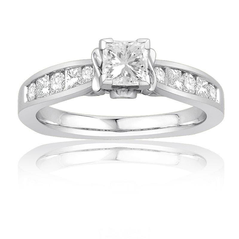 Ecoura 1ct. Princess-Cut Diamond Engagement Ring in 14K White