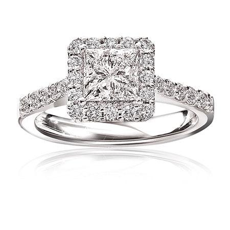 Stephanie. Diamond Princess-Cut Halo 14K White Gold Engagement Ring