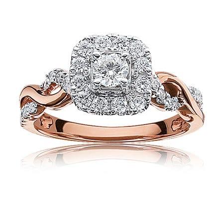Sabrina. Diamond Twist Halo Engagement Ring in 14k Rose Gold