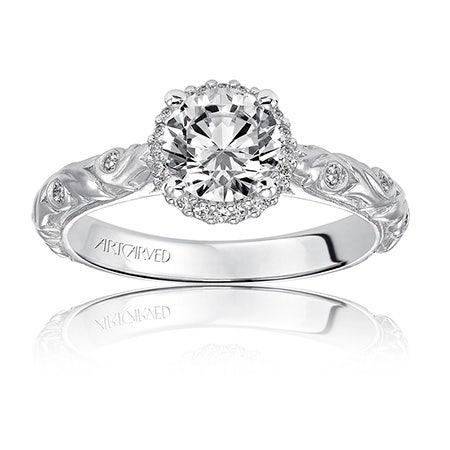 Catrina. ArtCarved Diamond Engagement Ring Setting in 14k White Gold