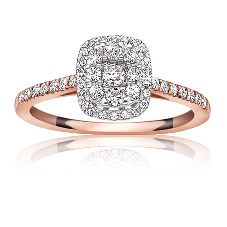 Jules. ½ ct. Diamond Halo Engagement Ring in 14K White Gold & Rose Plated