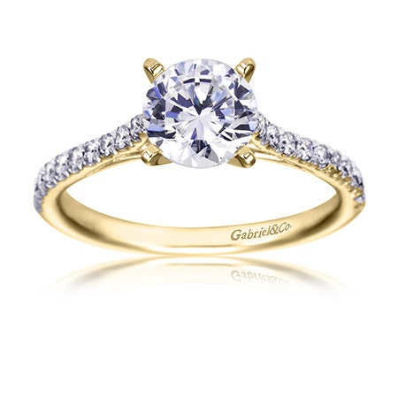 Gabriel & Co. Contemporary Straight 14k Yellow Gold Engagement Ring Setting