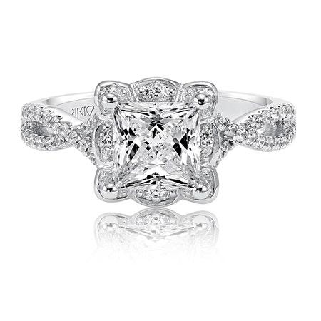 Leslie. ArtCarved Diamond Engagement Ring Setting in 14k White Gold