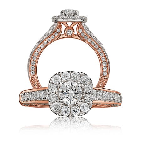 Elsa. Diamond 1½ct. t.w. Halo Engagement Ring in 14k Rose Gold