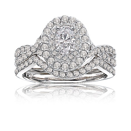 Stella. Oval 1+ct. Diamond Double Halo Engagement Ring in 14k White Gold