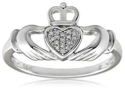 Diamond Irish Claddagh Ring