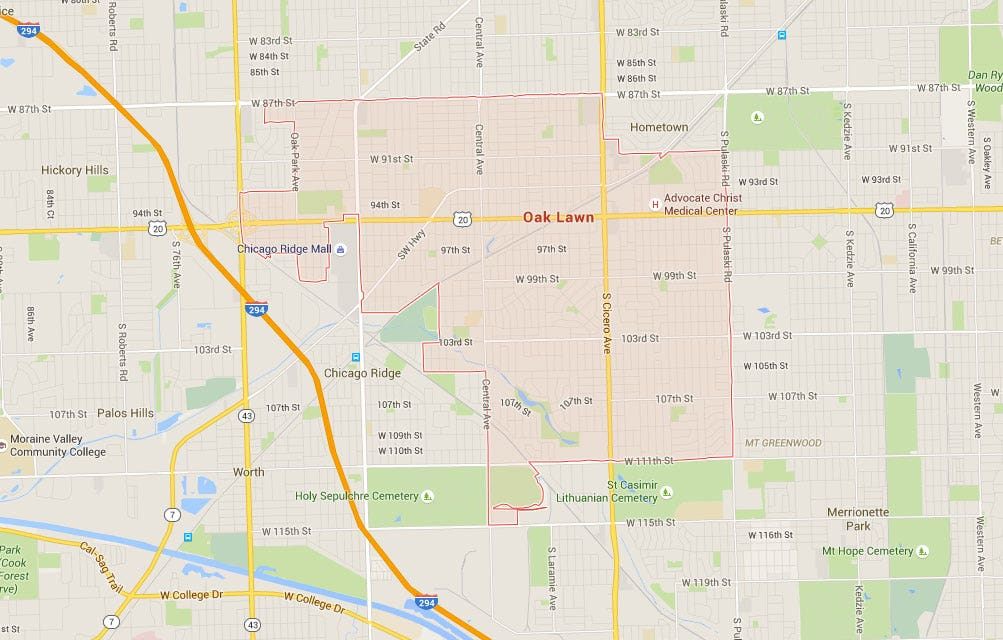 Travel from Oak Lawn, IL to Orland Park, IL