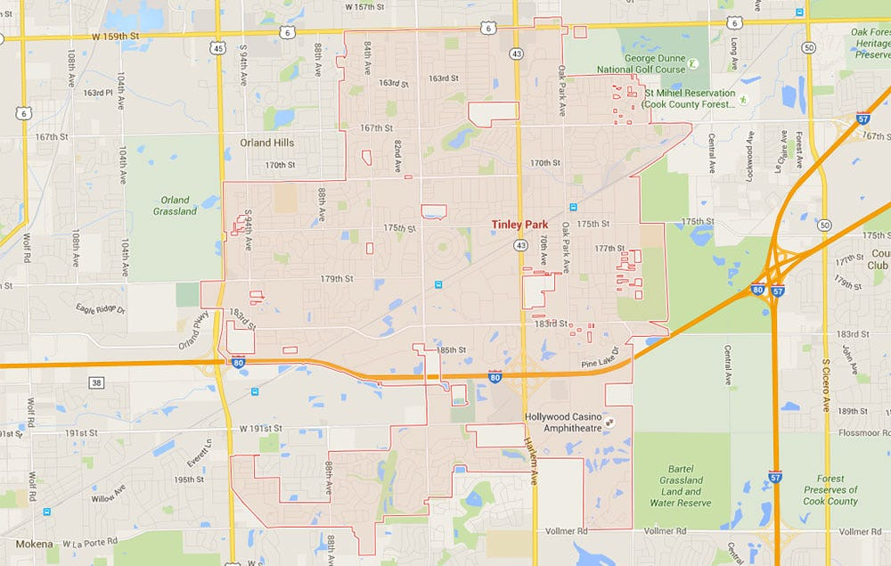 Travel from Tinley Park, IL to Orland Park, IL