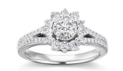 Lab Created Halo Engagement Ring